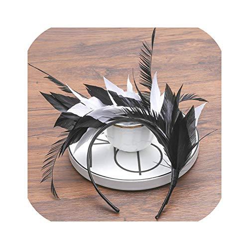 Serre-tête pour femme en plumes noires 2-2604-D