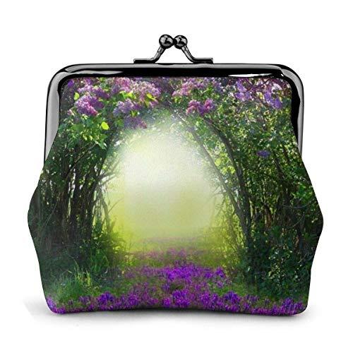 Misty Forest View Blüten Büsche Grün Gräser Sonnenstrahlen Pu Leder Exquisite Schnalle Münze Geldbörsen Beutel Kiss-Lock Geldbörse Geldbörsen wechseln