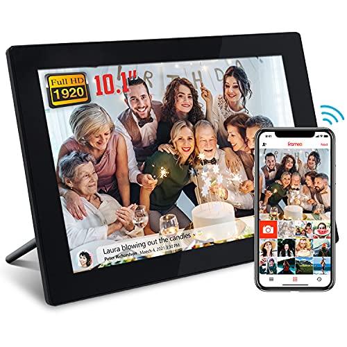 Marco de fotos digital FRAMEO WiFi con pantalla táctil FHD de 10 pulgadas (1920 x 1200), memoria integrada de 16 GB, momentos instantáneos a través de la aplicación Frameo