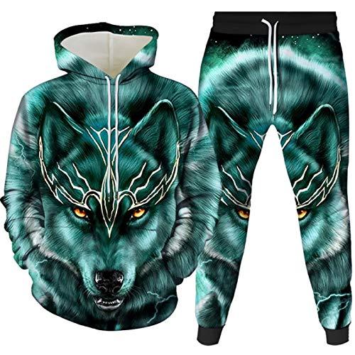 2 piezas de ropa deportiva de los hombres de la impresión del lobo sudadera con capucha pantalones sudadera con capucha ropa deportiva traje