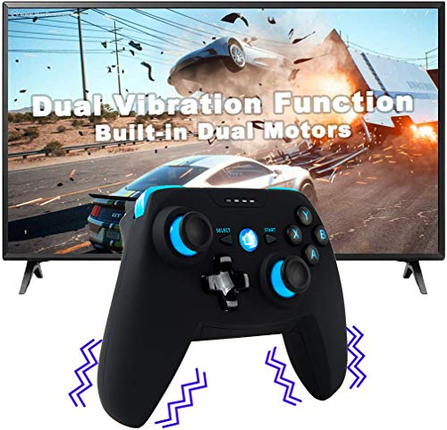 Maegoo Controller für Android/PC/PS3, Bluetooth Wireless Android Mobiler Controller mit Einziehbarer Halterung, 2.4G Wireless PC/PS3/TV Controller Gamepad mit Dual Vibration