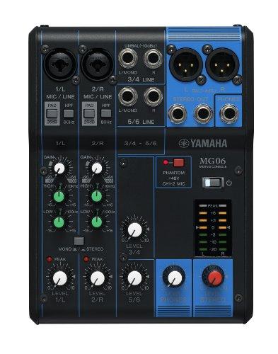 Yamaha MG06 Mischpult – Kompaktes Mischpult mit sechs Eingangskanälen und D-PRE-Mikrofonvorverstärkern