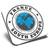 Posavasos cuadrado con diseño de Francia y Sur de Europa, Francia y Francia | Posavasos de calidad brillante | Protección de mesa para cualquier tipo de mesa #4526
