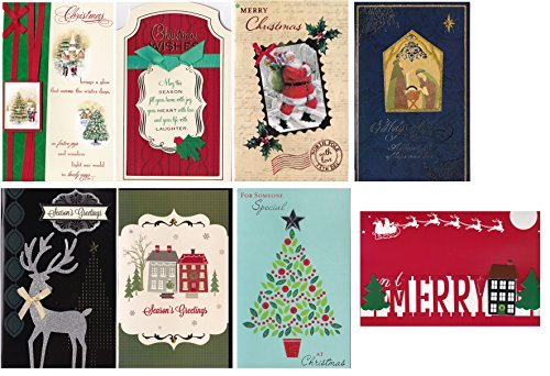 Christmas Holiday Cards Xmas Assorted Handmade Embellished with Satin Ribbons Beautiful Tip-ons with Foil FinishCards (8 Holiday Greeting Card)
