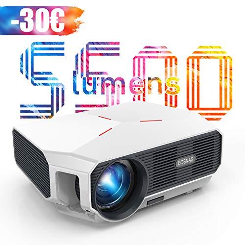 Proyector, 5500 Lúmenes Proyector Full HD Soporta 1920 x 1080P Proyector Cine en Casa Sonido Hi-Fi Proyector LED 60000 Horas Bajo Ruido Video Fluido PS4 HDMI USB VGA AV