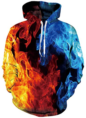 Guys Cool Abstract Colorful Flame Fire Fuzzy Hoodys for Women Mens Graphic Fashion Lightweight Crewneck Hoodies Pullover Sweater Shirts with Pockets Back to School Jackets 90s Clothes XX-Large XXL 2XL