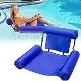 PROGATRMENTS - Cama hinchable para piscina, silla de agua, hamaca 4 en 1, colchón de aire para piscina hinchable para adultos y niños (azul)