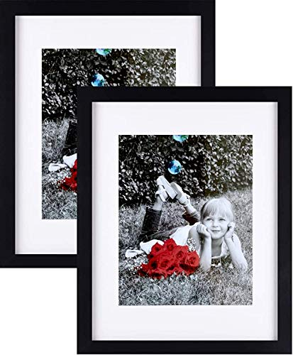 """Tasse Verre 9x12"""" Picture Frames (2-Pack) with Glass Front and Pre-Installed Sawtooth Hanging Hooks, Optional Wide Mat for 6"""" x 8"""" Photos"""
