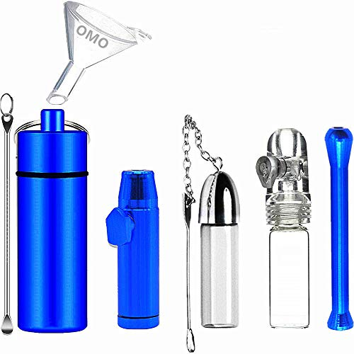 OMO Snuff Bullet Kit(6 pack) Snuff Bottle with spoon(Blue) Metal