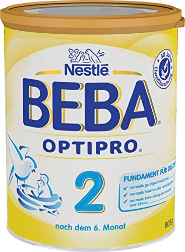 Nestlé BEBA OPTIPRO 2 Folgemilch, nach dem 6. Monat, Pulver, im Anschluss an das Stillen, bei angemessener Beikost, 1er Pack (1 x 800g)