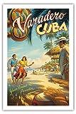 Pacifica Island Art - Varadero, Kuba - Ganzjähriges Paradies - Einheimische kubanischen Tänzer mit Rasseln - Retro Weltreise Plakat von Kerne Erickson - Giclée Kunstdruck 61 x 91 cm
