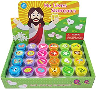 TINYMILLS 24 Pcs He Lives Jesus Stampers for Kids
