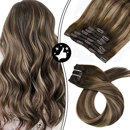 Moresoo 20 Zoll/50cm Balayage Farben Clip in Human Hair Extensions Echthaar 7 Tressen Haarfarbe Ombre Farbe Braun Gemischt Karamell Blondine Hochwertige Glatt Remy Echthaar Haarverlängerung 100g