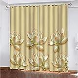 fgjorics Cortinas para Ventana De Sala De Estar Lotus Home Cortinas Estampadas Decorativas Cortinas Opacas Cortinas con Aislamiento Térmico para De Niños 230 (H) X140 (W) Cmx2