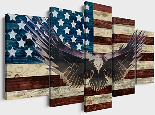 5 Piece American Flag Office Wall Art Bald Cool Eagle Canvas Posters Modern Rustic Patriotic Picture Artwork Decoration for Living Room - 50''W x 24''H