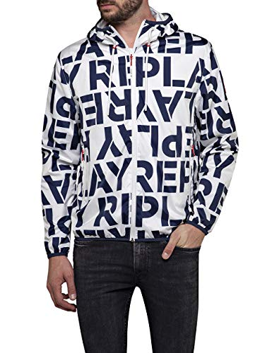Replay Herren M8046 .000.72010 Jacke, Mehrfarbig (White&Blue Big Logo 010), (Herstellergröße: XX-Large)