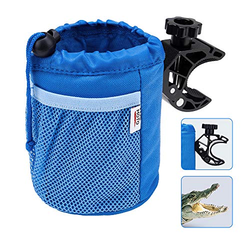 kemimoto Cup Holder, Oxford Fabric Drink Cup Can Holder with Drain and Alligator Clip for Boat, Kayak, Motorcycle, ATV, Bike, Wheelchair, Walker, Scooter, Golf Cart, RV, Camper, Chair, Blue