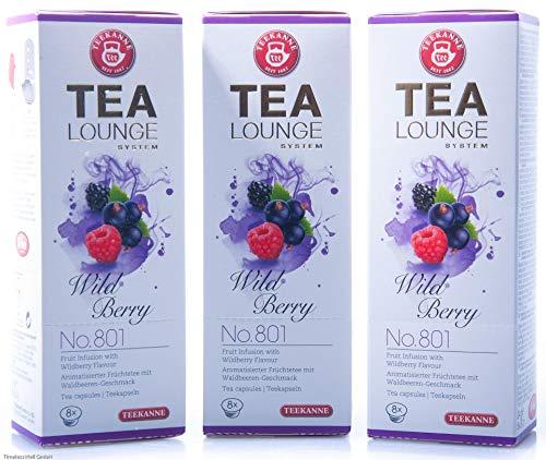 Teekanne Tealounge Kapseln - Wild Berry No. 801 Früchtetee (3x 8 Kapseln)