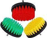 Kingbra - Cepillo para taladro eléctrico de 5 pulgadas, dureza media, cepillo de limpieza para limpieza de superficies de baño, lechada de azulejos, duchas verde+naranja + rojo
