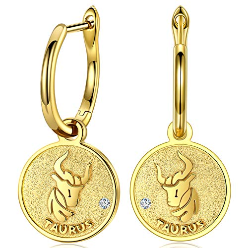 FANCI Regalos Pendientes Mujer Plata de Ley 925 Pendientes Colgantes Tauro Signos Moneda Regalos para Mujer Regalos para Mama