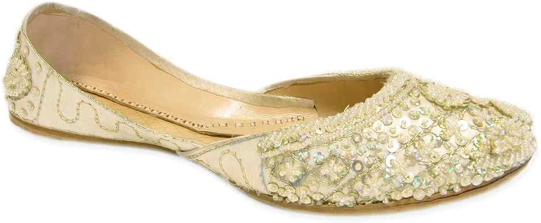 Light Lemon Cream Beaded Wedding Flats Khussa Indian Bridal shoes
