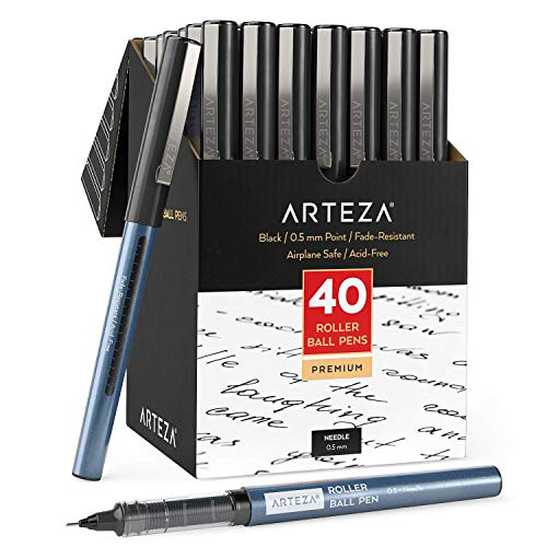 Arteza Rollerball Pens Fine Point Set of 40 Black Liquid Ink Extra Fine 05 mm Needle Tip Pen Make Precise Lines for Writing Notetaking and Drawing