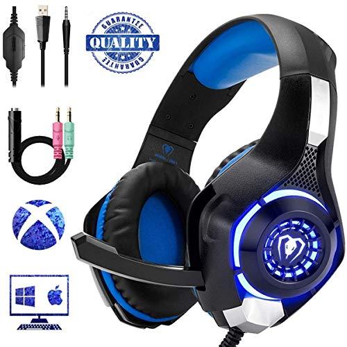 Preisvergleich Produktbild Lychee Gaming-Kopfhörer,  faltbar,  mit Mikrofon,  Gaming PS4,  Surround Sound mit Ohrenschutz,  Geräuschunterdrückung,  mit LED-Licht und Controller,  3, 5 mm Klinke,  für PS4,  Xbox One,  PC
