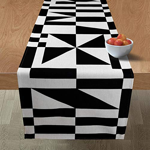 Yone Black and White Modern Table Runner for Furniture Decoration Wedding Event Indoor and Outdoor Party Geometric Table Runner 14''x72''