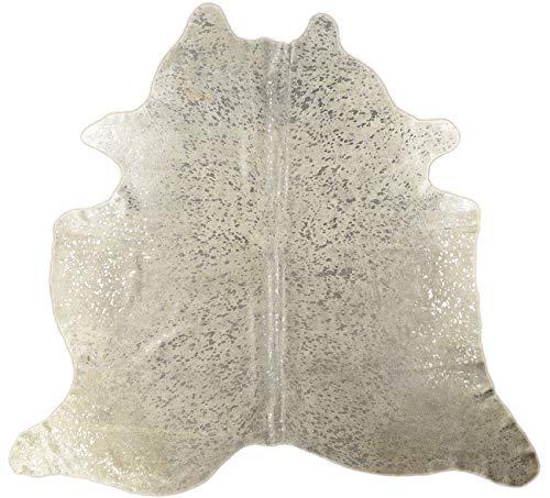 Alfombra genérica de Piel de Vaca, Piel de Toro, Piel de Ternero Plateada, Devore Gris, Aprox. KUHFELLE - Efecto metálico (210 x 210 cm)