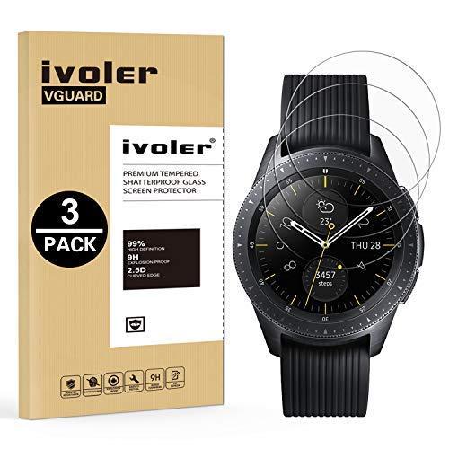 iVoler 3 Pezzi Pellicola Vetro Temperato per Samsung Galaxy Watch 4 Classic 42mm / Samsung Galaxy Watch 3 41mm / Samsung Galaxy Watch 42mm, Pellicola Protettiva Protezione per Schermo Anti Graffio
