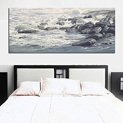 wZUN Impresión de Paisaje de Onda Lienzo Abstracto Pintura al óleo Vista al mar Lienzo Sala de Estar sofá decoración Pintura con Piedra 60x120 Sin Marco