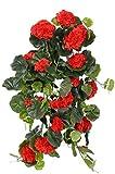 artplants.de Gerani Pendenti Decorativi Anton su Gambo Artificiale, 130 Foglie, Rosso, 65cm, Ø 35cm - Composizione Floreale/Gerani Artificiali
