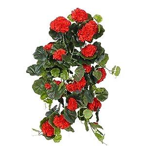 artplants.de Decorativo Pelargonium Colgante Anton, 130 Hojas, Rojo, 65cm, Ø 35cm – Planta Artificial – Arbusto…