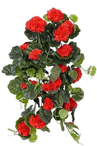 artplants.de Deko Geranienhänger Anton auf Steckstab, 130 Blätter, rot, 65cm, Ø 35cm - Künstliche Geranie