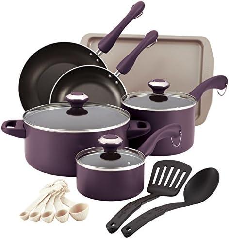 Paula Deen Signature Dishwasher Safe Nonstick Cookware Pots and Pans Set 16 Piece Purple product image