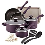 Paula Deen Signature Dishwasher Safe Nonstick Cookware Pots and Pans Set, 16 Piece, Purple