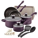Paula Deen Signature Dishwasher Safe Nonstick Cookware Pots and Pans Set, 16 Piece, Purple