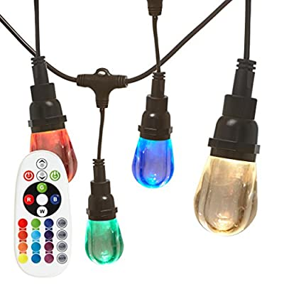 Newhouse Lighting RGBWSTRING10 Outdoor LED Color Changing RGB String Lights with Warm and Cool White Light with Weatherproof Technology, Heavy Duty 18-Foot Cord with 10 Hanging Sockets and Remote