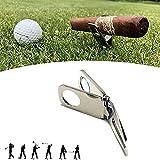 Titular del cigarro y la Herramienta Divot Divot, Herramienta Divot Golf con Ball Marker Cigar Bigne, Herramienta de reparación de Divot Golf y Ballmarke, Regalo para Golfistas,Plata
