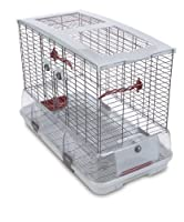 Vision cages contains 2x seed/water cups, 2 x waste sheilds, 2 x perches Horizontal wire 2.6mm, vertical wire 3mm, wire spacing (centre to centre) 20.5mm Suitable for cockatiels, lovebirds and parrotlets Also available in small and medium, tall and s...