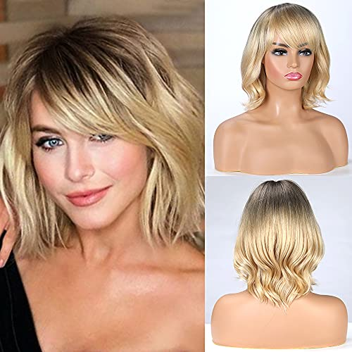 Emmor Blonde Human Hair Blend Wigs for Women and Female,Natural Ombre Hair Lady Wig ,Lightweight/ Breathable/Dark Root (Color R27)