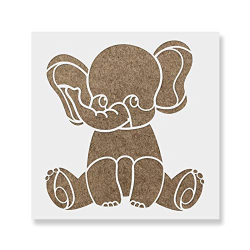 Baby Elephant Stencil - Reusable Stencils for Painting - Create DIY Baby Elephant Home Decor