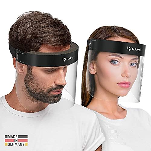 HARD 1x Pro Visera de protección facial, Certificado médico, Protector de plástico Antivaho, Pantalla protectora para adultos, Hecho en Alemania - Negro/Negro