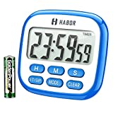 Habor Digital Kitchen Timer Large, Strong Magnet Back, Loud Alarm, Memory Function 12-Hour