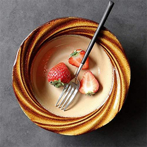 DZX Pasta de cerámica Ensalada de Frutas Tazón de Sopa Horno Microondas Seguro Mezcla Creativa Tazones para Servir Molino de Viento Plato Profundo 8 Pulgadas (Tamaño: GAVBCMO)