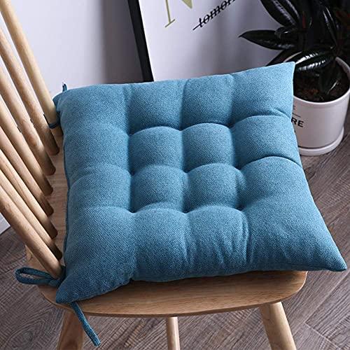DIELUNY Almohadillas de silla de color sólido, almohadillas de asiento para interiores y exteriores, acolchadas, transpirables, con lazos, azul cielo, 45 x 45 cm