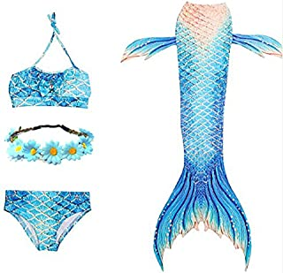Seemo☆4Pcs Mermaid Tail for Girls Swimming Swimsuits Princess Bikini Set for Toddler Big Girls Birthday GiftChildren Mermaid Clothing Cosplay 140cm