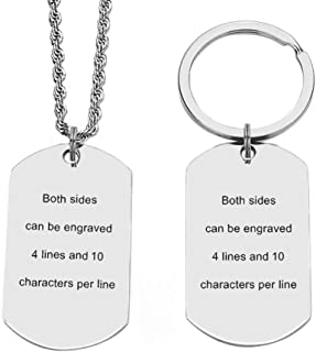 Custom Key Chains for Mens Personalized Dog Tags and Necklace Chains Stainless Steel Dog Tag Necklace ID Tag Pendant with 24