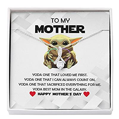 Mother Daughter / Son Necklace, Presents For Mom Gifts, Baby Yoda# Best Galaxy, Alluring Custom Dainty Chain Necklaces For Women, Mothers Day Jewelry Happy Birthday Gift, Pendant Mother'S Day Ideas For Her