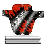 FETESNICE 2 pz in Fibra di Carbonio Texture Mountain Bike Fender MTB Anteriore della Bicicletta Parafango Posteriore DH Ciclismo 26/27.5/29 Bicicletta Fender Accessori Bici (Rosso-C)